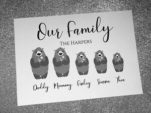 Personalised A4 Family Tree Bear Print - Family Print Unique Gift Unframed