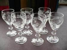 Six Antique Cut Glass Sherry Glasses - Wheel Cut Glass - Breweriana
