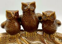 Three Owls Ceramic Soap Trinket Nut Desk Dish Vintage