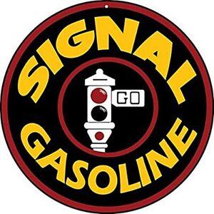 """Signal Gasoline round steel sign (pst 14"""" diameter)"""