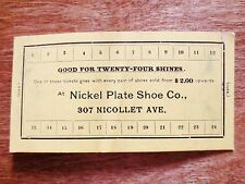 1930s Nickel Plate Shoe Company 24 Shines Punch Card Minneapolis Minnesota MN