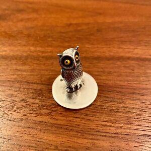 SAMPSON MORDAN STERLING SILVER FIGURAL OWL PLACE CARD HOLDER CHESTER 1904