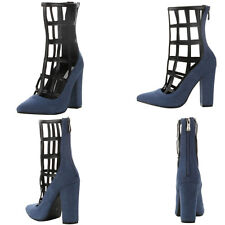 New Blue Denim Black Cage Cut Out Chunky Thick High Heel Ankle Boot Booties Pump