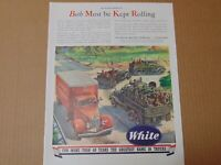 1943 WHITE Commercial & Military Trucks Keep Both Rolling  vintage art print ad
