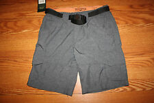 NWT Mens FIELD & STREAM Slate Chambray Hybrid Hiking Cargo Shorts Belted 36-38 L