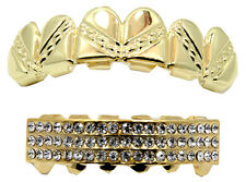 Gold Plated High Quality Design Cut Top & Cz Bottom GRILLZ Mouth Teeth Grillz