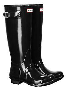NEW LADIES GLOSS BLACK HUNTER WELLIES Womens Original Tall Wellingtons UK Size 6