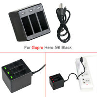 3-Channel Battery Charger For Gopro Hero 6 5 Black Action Camera USB Charging