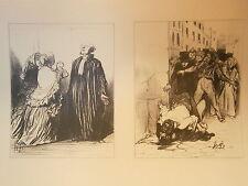 Planche gravure Les divorceuses- Les amis  Par Honoré Daumier