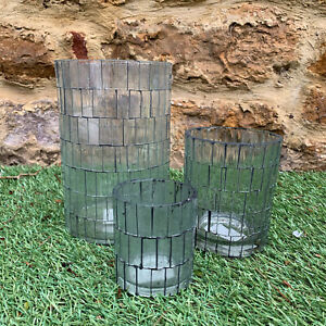 S/3 Garden Outdoor Andorran Mosaic Glass Pillar Candle Holder Lanterns CLEARANCE