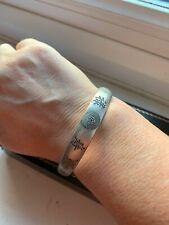 Vintage Chinese Silver Bangle Bracelet Top Oriental Engravings Adjustable signed
