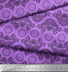 Soimoi Cotton Poplin Fabric Floral & Damask Ethnic Print Fabric-RJc