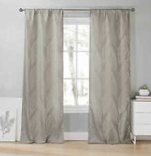 """Two (2) Gray Window Curtain Panels: Metallic Silver Leaf Design, Extra Long 96"""""""