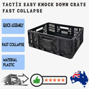 Tactix Easy Knock Down Crate 25L Fast Collapse Folding Collapsible Storage box