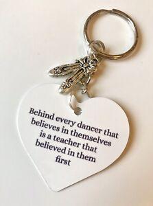 Dance Teacher Gift Keyring Ballet Charm Dance Thank You Gift Christmas Gift