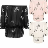 Ladies Butterfly Printed Chiffon Off Shoulder Gypsy Boho Sheer Womens Top
