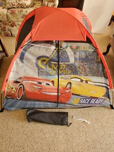 Disney Cars 3 Youth 2 Pole Dome Tent w/Zipper Door Carry Bag 5ft x 3ft Kids