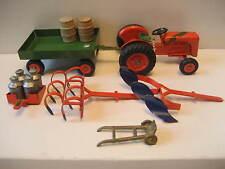 TEKNO DANEMARK-VINTAGE RARE-Orange Ferguson Tracteur-Avec équipement agricole - 1950-55.