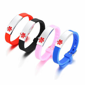 Medical Alert ID Bracelet Silicone Wristband Laser Engraving Personalized Gift