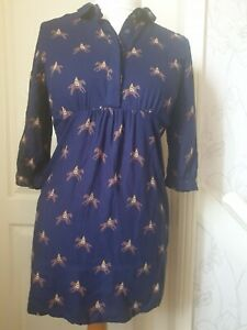 JOULES Size 10 'Newwickmere' Navy Blue Tunic Top With Horse & Jockey Print