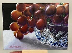 Original Drawing, Still Life, Prismacolor Pencil, Red Grapes in a Crystal Bowl