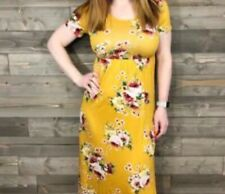 Entro Yellow Maxi Dress Small Floral Super Stretchy New