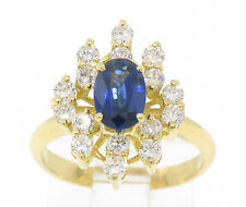 18ct Oro Certificado EGL azul cobalto ZAFIRO Y VVS E Diamante Anillo De Cóctel