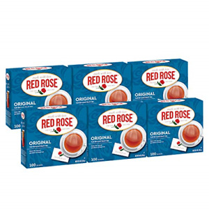 Red Rose Teas Black Tea, 6 Boxes of 100 600 Tea Bags, Original Black