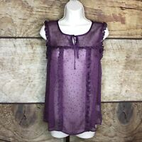 ModCloth Womens XL Blouse Sleeveless Top Purple Tie Front Sheer Tank NEW