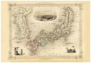 Old Vintage Map of Japan Korea richly illustrated Tallis 1851