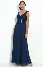 NEW JS Collections Rhinestone Detail Chiffon DRESS GOWN SIZE 16 NAVY