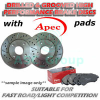 Rear Drilled and Grooved 258mm 4 Stud Solid Brake Discs with Apec Pads