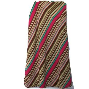 Maxi Skirt Linen Rayon Diagonal Striped A-line Size 10 Fully Lined Pink Brown