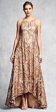 Aidan Mattox Sequin Embroidered Lace & Silk Golden High-Low Gown - NWT Sz 6 $495