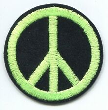 PEACE SIGN lime green on black EMBROIDERED IRON-ON PATCH **Free Shipping** 20052