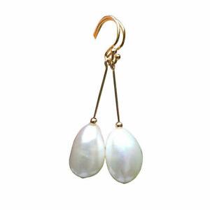 10-11x15.5-16mm Baroque Freshwater Natural White pearl AAAA earrings 45.4mm E322