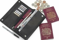 WOODBRIDGE BLACK REAL LEATHER TRAVEL DOCUMENT WALLET PASSPORT ORGANISER HOLDER