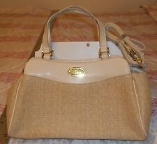 ETIENNE AIGNER Tan Faux Leather and Woven Jute Purse Bag with additional Strap