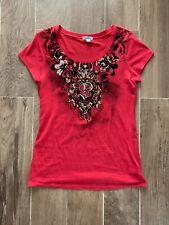 SOUTHPOLE Top Burnt Orange Red Embellished Cotton Spandex V Neck T Shirt Top XL