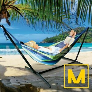 Hammock with Steel Stand Portable Double Swing Bed with Carry Case for Outdoor