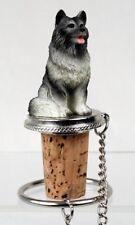 Keeshond Dog Hand Painted Resin Figurine Wine Bottle Stopper