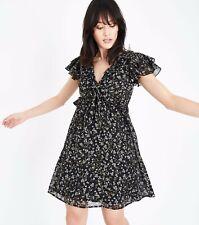 New Look Black Floral Frill Trim Chiffon Tea Dress