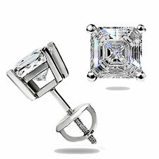 1.55 Ct Created Asscher Cut Stud Earrings Basket Set 14K White Gold Screw Back