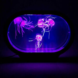 Novelty Neon Jelly Fish Tank Lifelike Jellyfish Desk Bed Night Mood Light Lamp