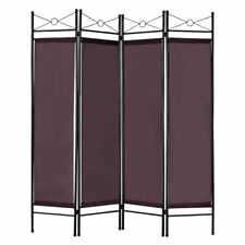 4 Panel Room Divider Fabric Metal Frame Home Office Privacy Screen Brown