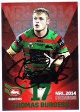 THOMAS BURGESS SOUTH SYDNEY RABBITOHS 2014 ESP NRL PREMIERS RED SIGNED CARD