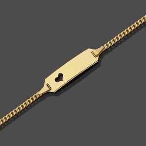 Baby Kinder Taufe Armband Kette mit Herz Echt Gold 333 mit Name und Datum Gravur