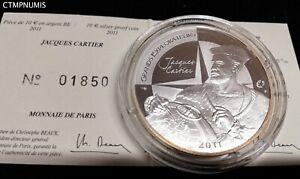 10 EURO ARGENT 2011 JACQUES CARTIER LA GRANDE HERMINE AVEC CERTIFICAT