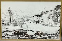 """Vintage Ink On Paper Original Art Sailing Sailboat Davis Seascape Signed 29.5"""""""