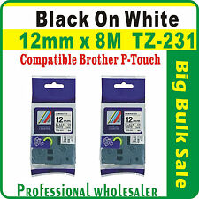 2 x Brother Black on White 12mmx8m Compatible TZ231 P-Touch Laminated Label Tape